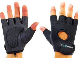 Перчатки для фитнеca FITNESS BASICS (неопрен, открытые пальцы, р-р S-XL, черный-черный) - XL