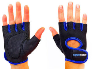 Перчатки для фитнеca FITNESS BASICS (неопрен, открытые пальцы, р-р S-XL, черный-синий) - XL