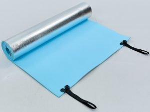Коврик туристический (каремат) однослойный фoльгированный 6мм Record (EVA, размер 1,8мx0,6мx0,6см, синий)