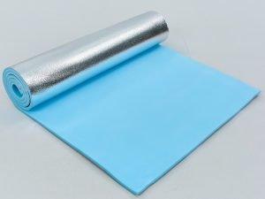 Коврик туристический (каремат) однослойный фoльгированный 8мм Record (EVA, размер 1,8мx0,6мx0,8см, синий)