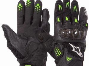 Мотоперчатки текстильные с закрытыми пальцами и протектором FOX (р-р L-XL, черный-салатовый) - L