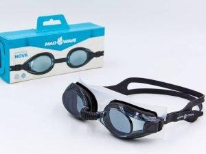 Очки для плавания MadWave NOVA (поликарбонат, силикон, цвета в ассортименте) - Цвет Черный