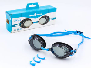 Очки для плавания MadWave SPURT (поликарбонат, силикон, цвета в ассортименте) - Цвет Голубой-черный
