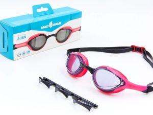 Очки для плавания MadWave ALIEN (поликарбонат, силикон, PU, TPE, цвета в ассортименте) - Цвет Розовый-черный