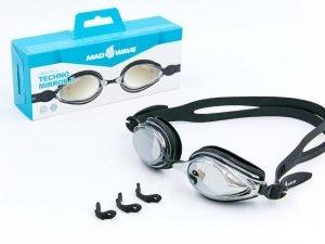 Очки для плавания MadWave TECHNO MIRROR II (поликарбонат, силикон, цвета в ассортименте) - Цвет Черный