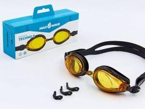 Очки для плавания MadWave TECHNO II (поликарбонат, силикон, цвета в ассортименте) - Цвет Черный-желтый