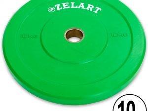 Бамперные диски для кроссфита Bumper Plates резиновые d-51мм Z-TOP ТА-5125-10 10кг (зеленый)