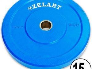 Бамперные диски для кроссфита Bumper Plates резиновые d-51мм Z-TOP ТА-5125-15 15кг (синий)