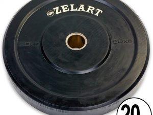Бамперные диски для кроссфита Bumper Plates резиновые d-51мм Z-TOP ТА-5125-20 20кг (черный)
