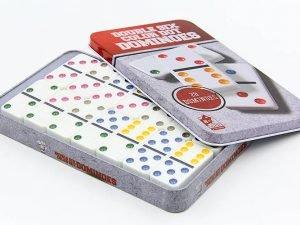 Домино настольная игра в металлической коробке (кости-пластик,h-4,3см, р-р 19×11,5×3,5см)