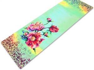 Коврик для йоги Замшевый каучуковый двухслойный 3мм Record (размер 1,83мx0,61мx3мм, бирюзовый-розовый, с цветочным принтом)