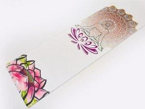 Коврик для йоги Замшевый каучуковый двухслойный 3мм Record (размер 1,83мx0,61мx3мм, бежевый, с принтом Спокойствие Лотоса)