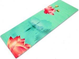 Коврик для йоги Замшевый каучуковый двухслойный 3мм Record (размер 1,83мx0,61мx3мм, бирюза, с принтом Спокойствие Лотоса)