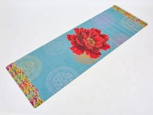 Коврик для йоги Замшевый каучуковый двухслойный 3мм Record (размер 1,83мx0,61мx3мм, голубой-красный, с принтом Цветок Сакуры)