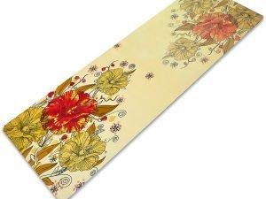 Коврик для йоги Замшевый каучуковый двухслойный 3мм Record (размер 1,83мx0,61мx3мм, бежевый-салатовый, с цветочным принтом)