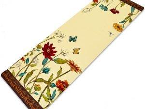 Коврик для йоги Джутовый (Yoga mat) двухслойный 3мм Record (размер 1,83мx0,61мx3мм, джут, каучук, бежевый, с цветочным принтом)