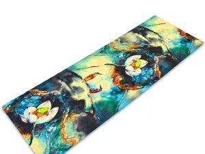 Коврик для йоги Джутовый (Yoga mat) двухслойный 3мм Record (размер 1,83мx0,61мx3мм, джут, каучук, т.синий-белый,с принтом Зимородки и Лотос)