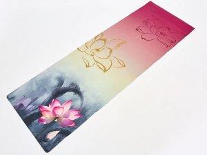 Коврик для йоги Джутовый (Yoga mat) двухслойный 3мм Record (размер 1,83мx0,61мx3мм, джут, каучук, серый-бежевый-розовый, с принтом Лотос)