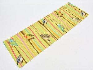 Коврик для йоги Джутовый (Yoga mat) двухслойный 3мм Record (размер 1,83мx0,61мx3мм, джут, каучук, желтый, с принтом Птицы)