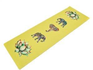 Коврик для йоги Джутовый (Yoga mat) двухслойный 3мм Record (размер 1,83мx0,61мx3мм, джут, каучук, желтый, с принтом Слон и Лотос)