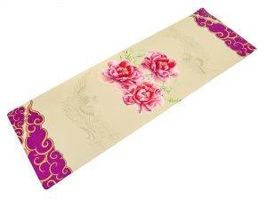 Коврик для йоги Джутовый (Yoga mat) двухслойный 3мм Record (размер 1,83мx0,61мx3мм, джут, каучук, бежевый, с принтом Сакура)
