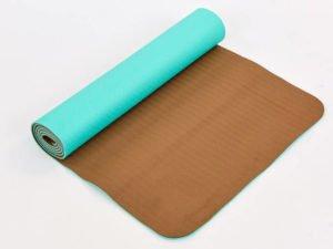 Коврик для фитнеса и йоги TPE+TC 6мм двухслойный SP-Planeta (размер 1,83мx0,61мx6мм, мятный-кофе)