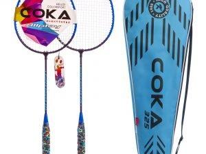 Набор для бадминтона 2 ракетки в чехле COKA (сталь, цвета в ассортименте) - Цвет Голубой