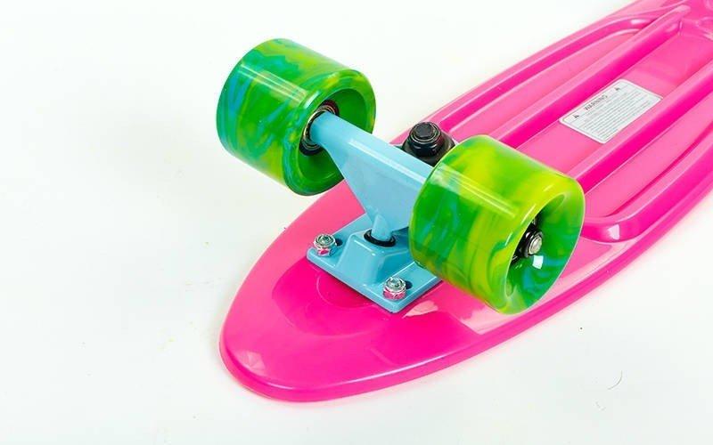Скейтборд пластиковый Penny SWIRL FISH 22in  колесо мультиколор (роз-син-зеленый)