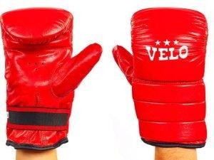 Снарядные перчатки Кожа VELO (р-р S-XL, цвета в ассортименте) - Красный-L