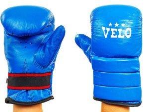 Снарядные перчатки Кожа VELO (р-р S-XL, цвета в ассортименте) - Синий-L