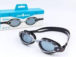 Очки для плавания MadWave SHARK (полипропилен, силикон, цвета в ассортименте) - Цвет Черный