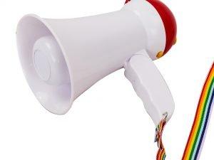Громкоговоритель (пластик, d-9,8см, l-15,5см, 15W, складн, на батарейках AA 6шт, запись 10сек)