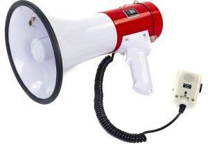 Громкоговоритель (пластик, d-20,5см, l-33см, 20W с микрофоном, бело-красный)