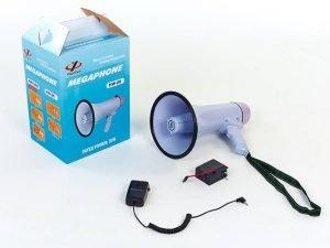Громкоговоритель (пластик,d-19,5см, l-32,3см,30W,с микрофон,аккум,на бат. (6C),запись 10сек.)