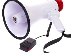 Громкоговоритель (пластик, d-19,5см, l-32,3см, 30W, с микрофоном, на бат (6C),USB вход)