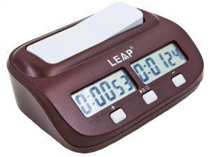 Часы шахматные электронные LEAP (пластик, коричневый)