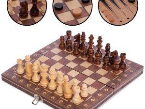 Шахматы, шашки, нарды 3 в 1 деревянные с магнитом (фигуры-дерево, р-р доски 24см x 24см)