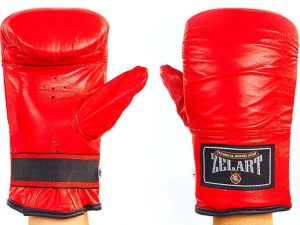 Снарядные перчатки Кожа Zelart (р-р M-XL, цвета в ассортименте) - Красный-L