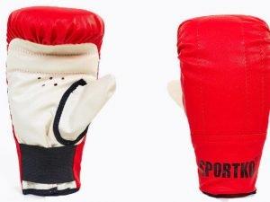 Снарядные перчатки Кожвинил SPORTKO UR (р-р S-XL, цвета в ассортименте) - Красный-L