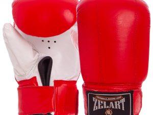 Снарядные перчатки с манжетом на липучке Кожа Zelart (р-р M-XL, цвета в ассортименте) - Красный-M