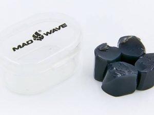 Беруши для плавания в  пластиковом футляре MadWave (силикон, цвета в ассортименте) - Цвет Черный