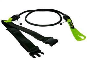Пояс с эластичным тросом MadWave SHORT BELT (латекс, нейлон, полипропилен, длина-1,15м, сопротивление от 3,6 до 20,4 кг) - Черный-зеленый-3,6-10,8 кг