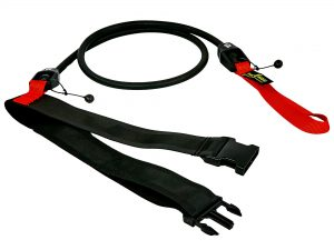 Пояс с эластичным тросом MadWave SHORT BELT (латекс, нейлон, полипропилен, длина-1,15м, сопротивление от 3,6 до 20,4 кг) - Черный-красный-5,4-14,1 кг