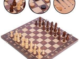 Шахматы, шашки, нарды 3 в 1 деревянные с магнитом (фигуры-дерево, р-р доски 39см x 39см)