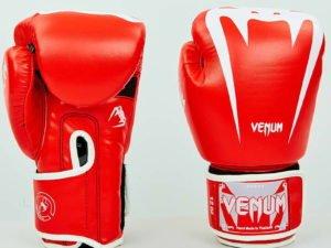 Перчатки боксерские PU на липучке VNM (р-р 8-12oz, красный-белый) - 8 унции