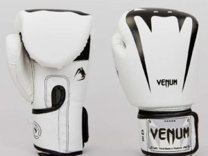 Перчатки боксерские PU на липучке VNM (р-р 8-12oz, белый-черный) - 8 унции