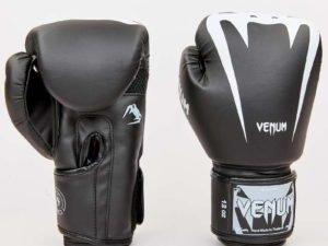 Перчатки боксерские PU на липучке VNM (р-р 8-12oz, черный-белый) - 8 унции