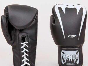 Перчатки боксерские PU на шнуровке VNM (р-р 8-12oz, черный-белый) - 8 унции