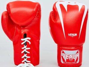 Перчатки боксерские PU на шнуровке VNM (р-р 8-12oz, красный-белый) - 8 унции