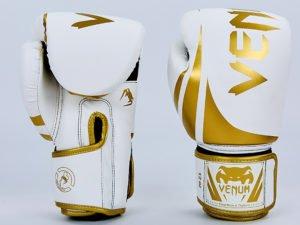 Перчатки боксерские PU на липучке VNM (р-р 8-12oz, белый-золотой) - 8 унции